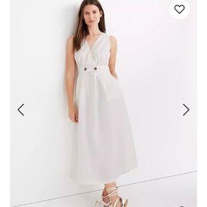 NWT madewell white linen button waist wrap dress